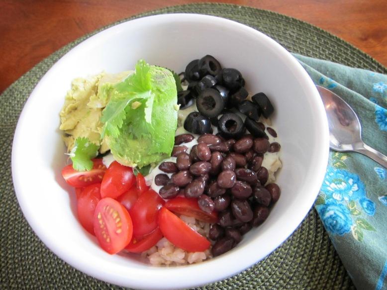 cilantro avacado rice bowl